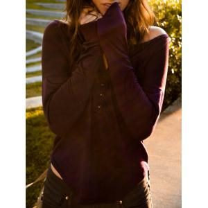 Stylish Plunging Neck Solid Color Long Sleeve T-Shirt For Women