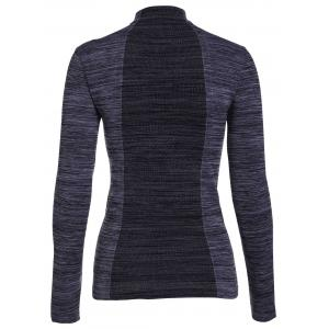Stylish Stand Collar Long Sleeve Gym Top For Women -