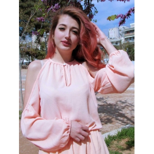 Cold Shoulder Hollow Out Long Sleeve Club Dress - PINK M