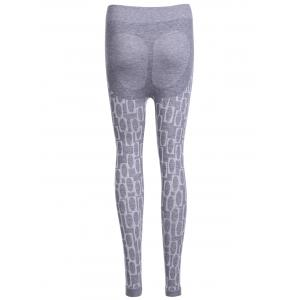 Stylish High Waisted Stretchy Printed Slimming Gym Leggings For Women - LIGHT GRAY ONE SIZE(FIT SIZE XS TO M)