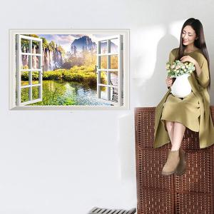 Faux Window Landscape Pattern 3D Wall Stickers For Girl Bedrooms - Colormix - W79 Inch * L79 Inch