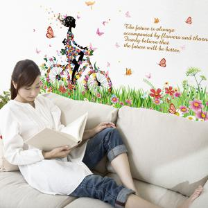 Fashion Colorful Flowers and Riding Girl Pattern Removeable Wall Stickers -