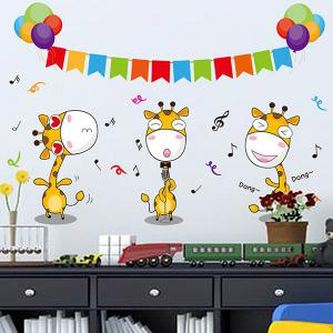 High Quality Music Note and Cartoon Fawn Pattern Removeable Wall Stickers -