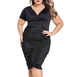 V-Neck Plus Size Short Sleeve Ruffled Cocktail Dress - Black - Xl