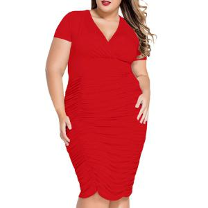 V-Neck Plus Size Short Sleeve Ruffled Cocktail Dress - Red - Xl