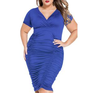 V-Neck Plus Size Short Sleeve Ruffled Cocktail Dress