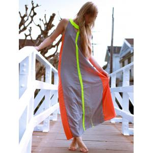 Floor Length Color Block Swing Casual Dress -