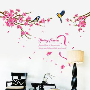 Spring Flowers and Siskin Pattern Removeable Wall Stickers Animals - COLORMIX