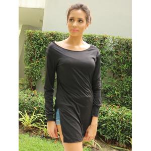 Stylish Scoop Neck Long Sleeve Side Slit Hollow Out Women's T-Shirt -