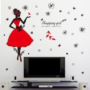 Flowers and Shopping Girl Pattern Wall Stickers For Girl Bedrooms - COLORMIX