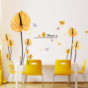 High Quality Yellow Leaves Pattern Removeable Wall Stickers - Yellow - W71 Inch * L71 Inch