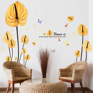 High Quality Yellow Leaves Pattern Removeable Wall Stickers - YELLOW