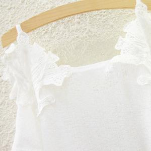 Sweet Lace Spliced Spaghetti Strap Cut Out Blouse For Women -