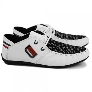 Fashionable Metal and Splicing Design Casual Shoes For Men - WHITE 41