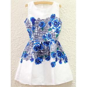 Sweet Floral Printed High Waist Sundress For Women