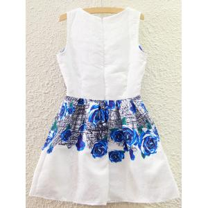 Sweet Floral Printed High Waist Sundress For Women - WHITE S
