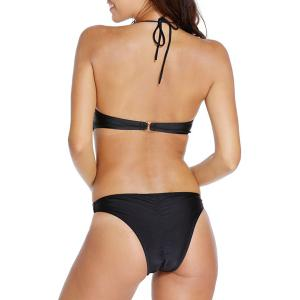 Stylish Halter Hollow Out Lace-Up Women's Swimsuit -