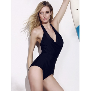 Halter High Cut Backless One Piece Swimwear -