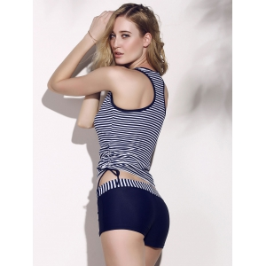 Striped Racerback Tankini Set - BLUE/WHITE M