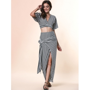 Chic Plunging Neck Cut Out Striped Crop Top + High-Waisted Furcal Skirt Women's Twinset -