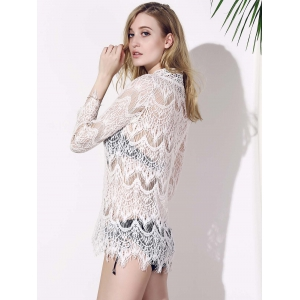 Crochet Lace Tunic Cover Up Top - WHITE L