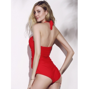 Chic Halte Pure Color Ruffled One-Piece Women's Swimwear -