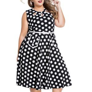 Sweet Round Neck Sleeveless Polka Dot Print Women's Plus Size Dress - Black - 3xl