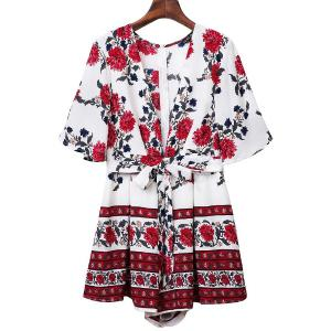 Sweet Half Sleeve Plunging Neck Floral Print Women's Romper