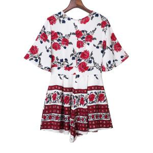 Sweet Half Sleeve Plunging Neck Floral Print Women's Romper - WHITE M