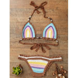 Trendy Halter  Knitted Colored Women's Bikini Set - One Size(fit Size Xs To M)