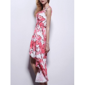 High Low Floral Swing Prom Dress - LIGHT RED S