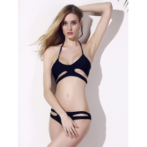 Sexy Spaghetti Strap Black Hollow Out Women's Bikini Set - BLACK M
