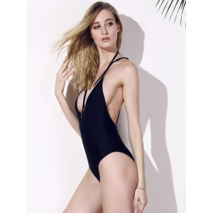 Plunge Cage Low Back Swimsuit - BLACK S