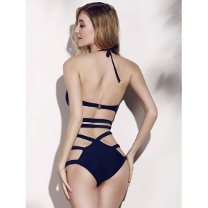 Push Up Monokini One Piece Swimsuit - PURPLISH BLUE M