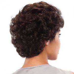 Fluffy Attractive Side Bang Short Deep Wavy Black Brown Heat Resistant Women's Synthetic Wig -