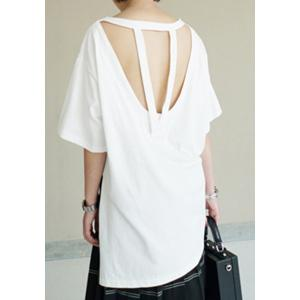 Chic Round Neck Half Sleeves Hollow Out Women's T-Shirt -