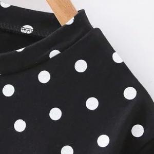 Cute Jewel Neck Short Sleeve Polka Dot Cartoon Print T-Shirt For Women -
