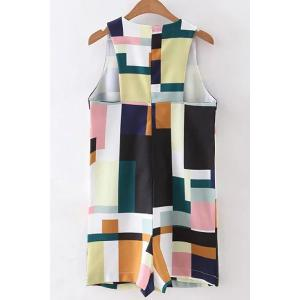 Chic Jewel Neck Sleeveless Color Block Loose Romper For Women -