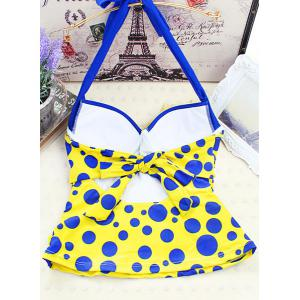 Polka Dot Backless Underwire Padded Push Up Tankini Bathing Suit -
