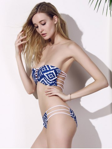 Shops Sexy Strapless Stretchy Print Bikini Set For Women - XL BLUE Mobile