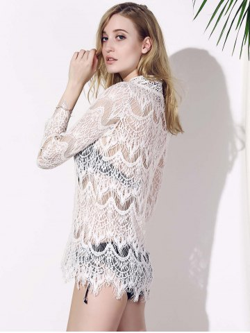 Shop Crochet Lace Tunic Cover Up Top - L WHITE Mobile