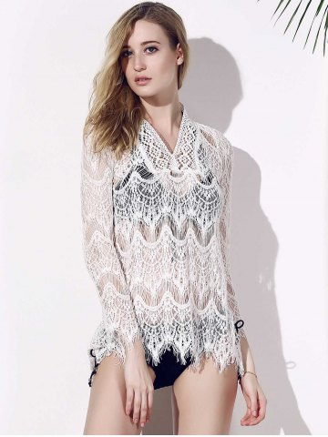 Sale Crochet Lace Tunic Cover Up Top - L WHITE Mobile