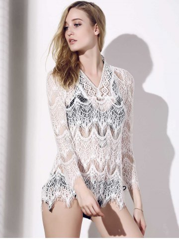 Fancy Crochet Lace Tunic Cover Up Top - L WHITE Mobile