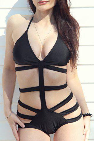Trendy Push Up Monokini One Piece Swimsuit - L BLACK Mobile