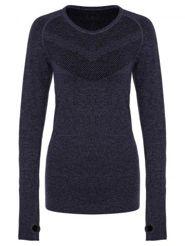 Hot Stylish Round Collar Slimming Long Sleeve Gym Top For Women