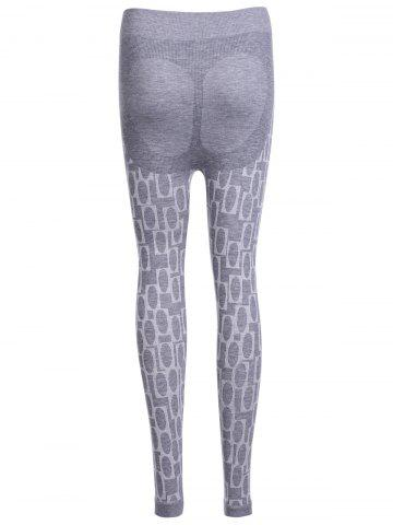 Hot Stylish High Waisted Stretchy Printed Slimming Gym Leggings For Women - ONE SIZE(FIT SIZE XS TO M) LIGHT GRAY Mobile