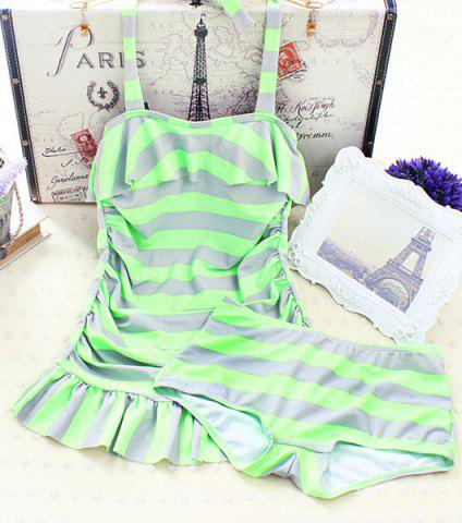 Online Stylish Halter Flounced Striped Women's Tankini Set GREEN M