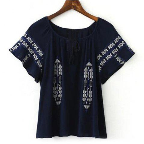 Fancy Short Sleeve Embroidery Tunic Blouse CADETBLUE M
