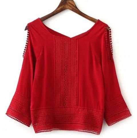 Affordable Stylish Long Sleeve Hollow Out Spliced Women's Blouse