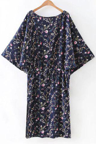 Retro Bat Sleeve Drawstring Floral Print Women's Dress